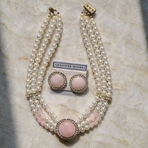 Retro Faux Pearl Choker Necklace & Earrings